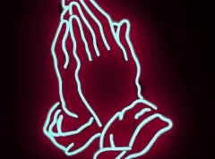 neon prayer sign