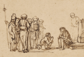 Rembrandt sketch of soldiers mocking Jesus